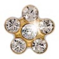 INVERNESS .805 - Λουλούδι Κρύσταλλο/ Κρύσταλλο 5mm - Επίχρυσο (Ζευγάρι) 0005782