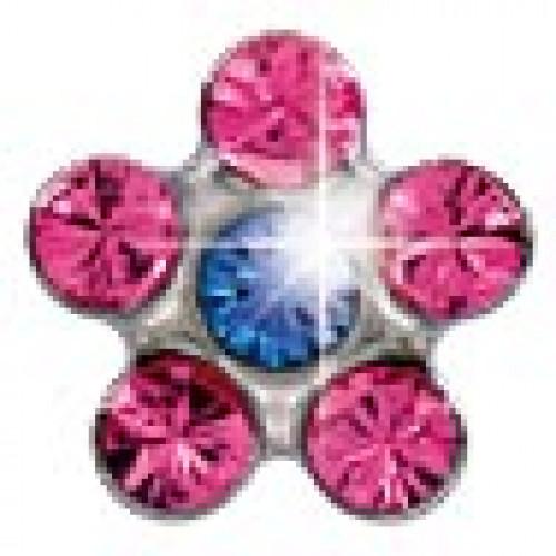 INVERNESS 804 - Λουλούδι Ροζ/Ζαφείρι 5mm - Ανοξείδωτο ατσάλι (Ζευγάρι) 0005810